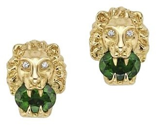 Gucci Lionhead Earrings in Yellow Gold, Chrome Diopside and Diamonds