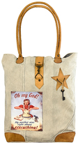 Vintage Addiction Tan 'Oh My God My Mother Was Right About Everything' Canvas Tote