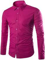 CFD Men's Buttoned Solid-Colored Slim Fit Long Sleeve Dress Shirts XS