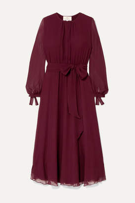 ARoss Girl x Soler Amanda Belted Silk-georgette Midi Dress - Burgundy