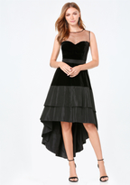 Bebe Dramatic Velvet Hi-Lo Dress