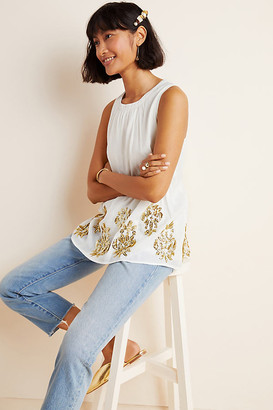 Maeve Simona Sequined Babydoll Blouse By in White Size S