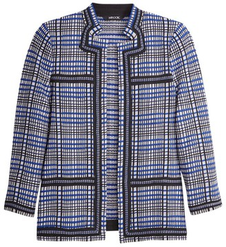 Misook Contrast Trim Mixed Plaid Knit Jacket