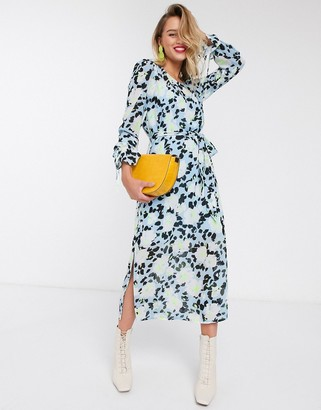 Essentiel Antwerp Vekken floral midi dress in blue