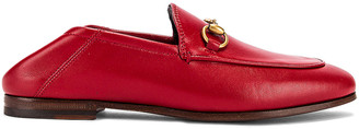 Gucci Leather Horsebit Loafers in Hibiscus Red | FWRD