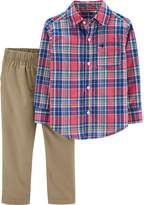 Carter'S carter's& 2-Piece Plaid Shirt and Khaki Pants Set in Red/Blue