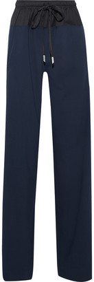 Cédric Charlier Twill-paneled Wool-blend Straight-leg Pants