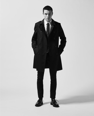 The Kooples Black cotton trench with leather collar