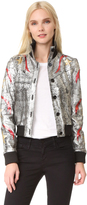 Just Cavalli Star Leather Bomber Jacket