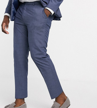 Burton Menswear Big & Tall slim suit trousers in blue check