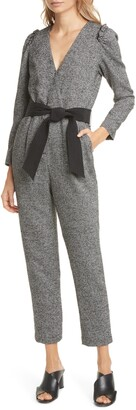 Tailored by Rebecca Taylor Herringbone Long Sleeve Ankle Crop Jumpsuit