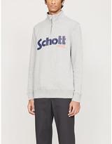 Schott Logo-print funnel-neck cotton-jersey jumper