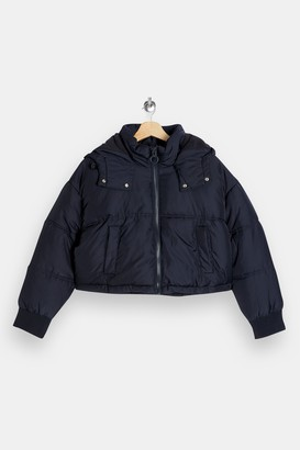 Topshop Womens Petite Navy Cropped Puffer Jacket - Navy Blue