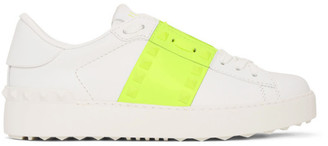Valentino White and Green Garavani Untitled Rockstud Open Sneakers