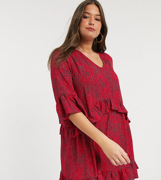 Vero Moda Curve smock dress in red floral print