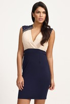 Little Mistress Cream & Navy Embellished Crossover Bodycon Dress