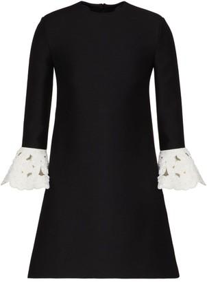 Valentino Embroidered Cuff Wool & Silk Dress