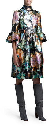 MARC JACOBS, RUNWAY Flared Brocade Flare-Sleeve Dress