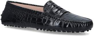 Tod's Croc-Embossed Leather Gommino Driving Shoes