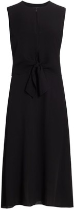 Theory Silk Tie-Front Sleeveless Dress