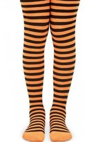 Jefferies Socks Big Girls White Stripe Pattern Halloween Tights