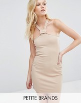 Missguided Petite Ribbed Bodycon Halterneck Dress