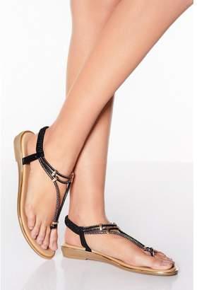 Quiz Black Shimmer Diamante Sandals