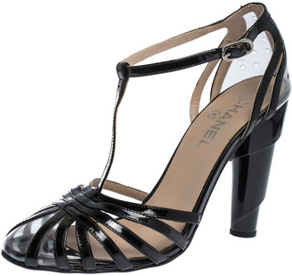 Chanel Black Patent Leather And PVC Swirl Heel T Strap Sandals Size 39.5
