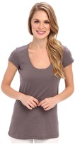 Allen Allen Basic Cap Sleeve Scoop Neck Tee