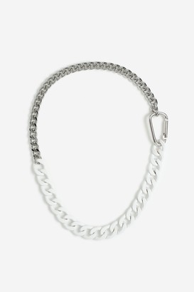 Topshop Womens **Carabiner Mixed Chain Necklace - White