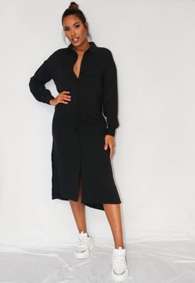 Missguided Black Utility Shirt Dress