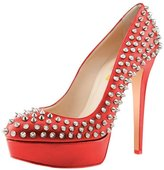 FSJ Women Chic Rivets Almond Toe Pumps Studded Platform Chunky High Heel Dress Shoes Size 10 US