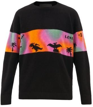 The Elder Statesman Rambler Dinosaur Cashmere Sweater - Mens - Black Multi