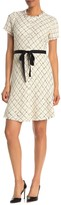 Rebecca Taylor Short Sleeve Diamond Print Tweed Dress