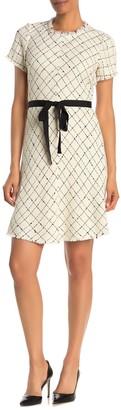 Rebecca Taylor Short Sleeve Diamond Print Tweed Dress