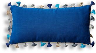 Joanna Buchanan Mini Tassel 10x20 Lumbar Pillow - Indigo Linen
