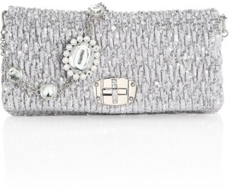Miu Miu Small Nappa Crystal Sequin Crystal Shoulder Bag