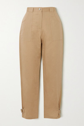 The Range Cropped Linen And Cotton-blend Twill Straight-leg Pants - Beige