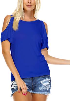 Isaac Liev Women's Blouses Royal - Royal Blue Cold-Shoulder Top - Women