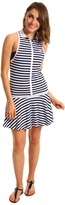 Lacoste Sleeveless Technical Pique Pleated Tennis Dress (White/White/Firmament Blue/White) - Apparel