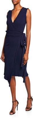 Milly V-Neck Sleeveless Wrap Dress