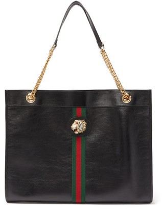 Gucci Rajah Web-striped Leather Tote Bag - Black