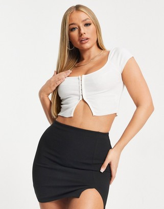 Love & Other Things bardot ribbed split front crop top in white