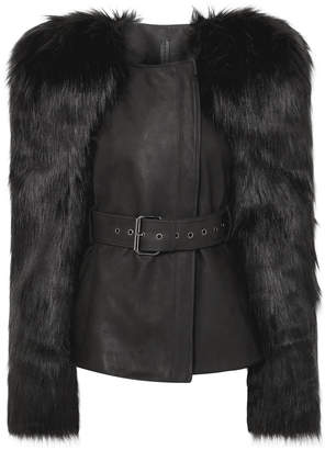 Gareth Pugh Belted Faux Fur And Leather Jacket