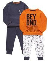 F&F 2 Pack of Slogan and Rocket Print Pyjamas, Boy's