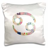"""3D Rose Cancer Symbol Colorful Girly Design Cancerian Horoscope Zodiac Sign Pillow Case, 16"""" x 16"""""""