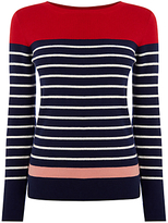 Oasis Colourblock Striped Jumper, Navy