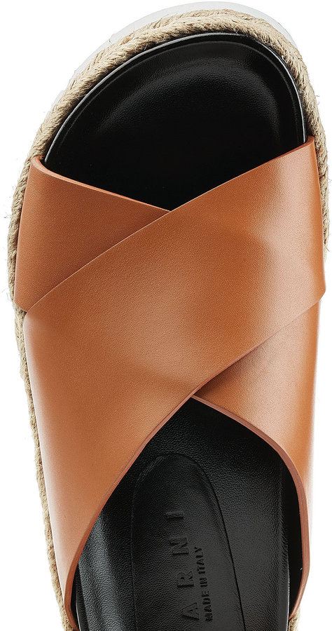 Marni Leather and Espadrille Slippers
