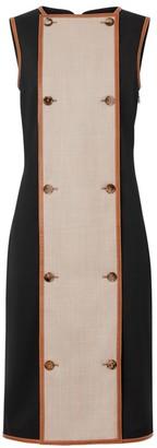 Burberry Leather-Trim Stretch Wool Sleeveless Dress