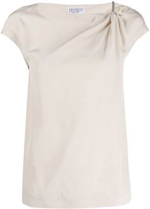 Brunello Cucinelli Short-Sleeved Silk Blouse